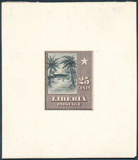 """LIBERIA #121 PLATE PROOF ON INDIA MOUNTED ON CARD """"25¢ CIRCULAR HOUSE"""" HV3745"""