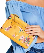 NWT GUESS DULCE LOGO WRISTLET BAG Yellow Floral Clutch Pouch Wallet GENUINE