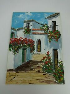 Original Painting Small Multi Coloured White Wash Building Acrylic Signed Floral
