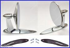 Pontiac Universal Chrome Round Door Mount Mirrors Rearview w/ Gaskets & Screws