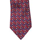 HERMES Silk Tie Red Blue French Horn Print Musical Instrument Patriotic Cool
