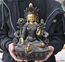 Tibetan Buddhism bronze copper green Tara goddess Kwan-yin Guanyin Buddha statue