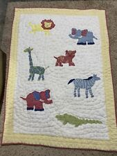 Pottery Barn Kids Zoo Baby Animal Quilt With Green Backing. 36�x 48�