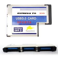 New 54mm Express Card ExpressCard to 3 Port USB 3.0 Adapter for Laptop Chip