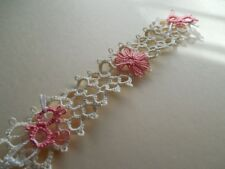 Dove Country Tatted Bookmark Cream with Coral Chicks & Flower Lacey Tatting