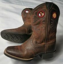 Ariat Women Kid 10014101 Brown Leather Red Stitch Square Toe Heel Cowgirl Boots