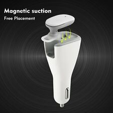 White 2 in 1 Car Charger Dual USB Wireless Bluetooth Earphone for iPhone Samsung