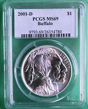 2001 D Graded MS69 PCGS American Buffalo BU Silver Dollar Coin US Mint Indian
