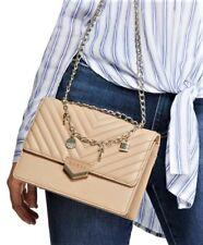 NWT GUESS JULINA HANDBAG Crossbody Shoulder Bag Tan Logo w- Chain Charms GENUINE
