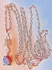 PENDANT RUBY RED & CLEAR CRYSTAL RHINESTONES & CHAIN