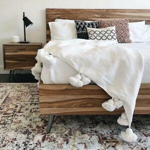 Fatima white Moroccan pompom blanket
