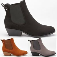LADIES WOMENS LOW HEEL BLOCK ELASTIC ANKLE WHIP CHELSEA RIDING BOOTS SHOES SIZE