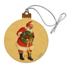 Christmas Holiday Santa Holding Wreath Wood Christmas Tree Holiday Ornament