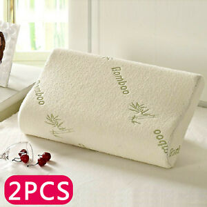 2 x Anti Bacterial Bamboo Memory Pillow Orthopedic Firm Head Neck Back Support