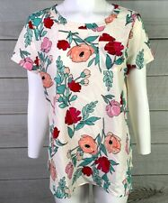 Van Heusen Women's Blouse Top Floral Short Sleeve Shirt Size Medium EUC A4210