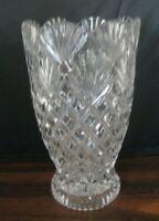 Imperial 24% Lead Crystal Vase Diamond Fan Cut Scalloped Rim Made in Slovakia