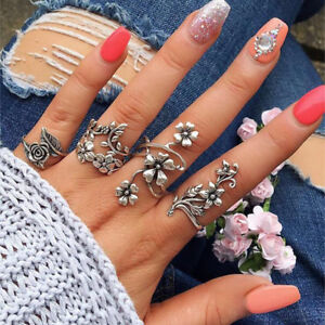 Women Hollow Carved Ring Set Ancient Silver Midi Finger Knuckle Big Flower Leaf