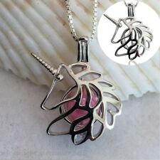 Silver Plated Hollow Out Unicorn Pearl Necklace Alloy Cage Pendant Chain Jewelry