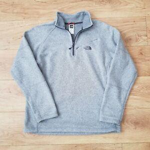 The North Face Mens Grey 1/4 Zip Gey Long Sleeve Fleece Jacket Pullover - Medium