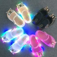 Colorful LED Light Girls Sandals Princess Bow Shoes PVC Flash Toddler Shoes