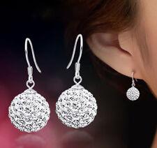 Charm Crystal Rhinestone Ball Silver Plated Hook Drop Dangle Ear Earrings Gift