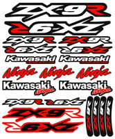 ZX-9R Ninja Racing Motorcycle Decals Stickers Set Fairing Laminated ZX9R ZXR RED
