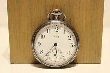 "ART DECO WW2 ERA ALL STEEL SWISS OPEN FACE POCKET WATCH""CYMA""WITH PORCELAIN DIAL"