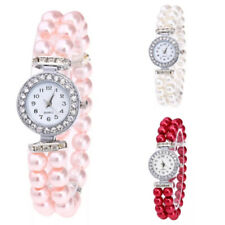 Womens Ladies Wrist Watches Watch Pearl Analogue Strap Quartz Gift Pink Red