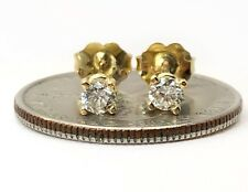 0.33 TCW H/VS2 Round Diamond Solitaire Stud Earrings 18K Yellow Gold Push Back