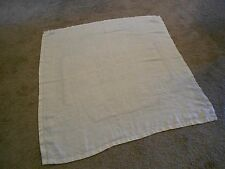 """Linen Table Cloth Ivory Square 50.5"""" x 49"""" Circle Weave Design Floral Embossed"""