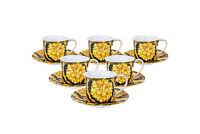 Royalty Porcelain 12-pc Luxury White Greek Key Mini Espresso Turkish Coffee SET