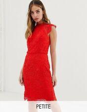 ASOS Chi chi London Petite Red Scallop Floral Lace Pencil Dress Size 12. BNWOT