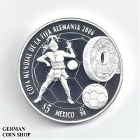 Mexiko 5 Pesos FIFA World Cup 2006 Silber Fußball - soccer silver proof Mexico