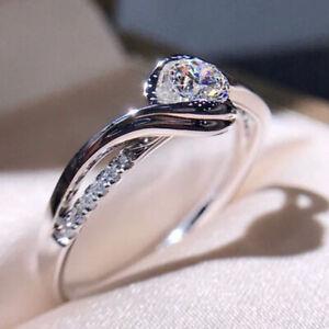Elegant Women Jewelry 925 Silver Rings White Sapphire Wedding Ring Size 6-10