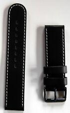 New High Quality Elysee Watch Band Wrist Leather Black Seam White 22mm E57
