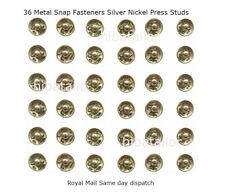 36 Metal Snap Fasteners Silver Nickel Press Studs tich Buttons size 10 mm UK