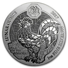 1oz Rwanda Rooster Silver Lunar Coin, 999 fine silver, 2017. New Condition