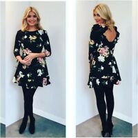 Topshop Celebrity Black Paint Floral Frill Flippy Tea Dress - Size 12