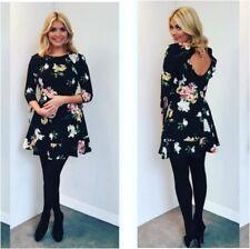 Topshop Celebrity Black Paint Floral Frill Flippy Tea Dress - Size 6