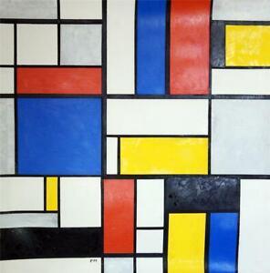 PIET MONDRIAN / Real Authentic Oil on Canvas Technique, Signed PM. Cubism