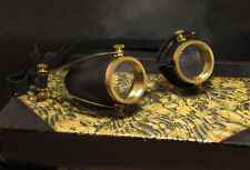 Steampunk Goggles Molded Leather and Solid Brass Cosplay Motorcycle