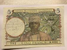 1944 Banque de L'Afrique Occidentale 5 Francs Note Graffiti #8695
