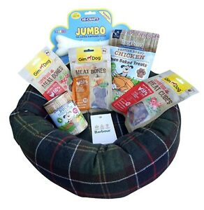 BARBOUR Small Padded Dog Bed Classic Tartan & Treats 44 cm Diameter 27 cm Centre