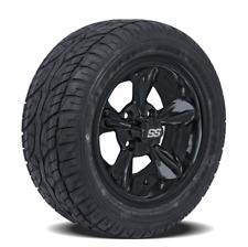 "Golf Cart 12"" Black Godfather Wheels On Low Profile Tires - Set of 4"