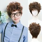Korean Style Mens Wig Short Wavy Curly Weave Brown Hair Cosplay Daily Costume