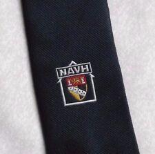 CLUB ASSOCIATION TIE NAVH VINTAGE RETRO NAVY BY MUNDAY 1980s 1990s SHIELD CREST
