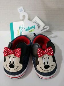 NEW! Disney Baby Infant Girls Jean & Red Minnie Mouse Ears Loafer House Shoes