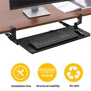 Under Desk Clamp-On Keyboard Tray Sliding Adjustable Drawer Shelf Holder Mount