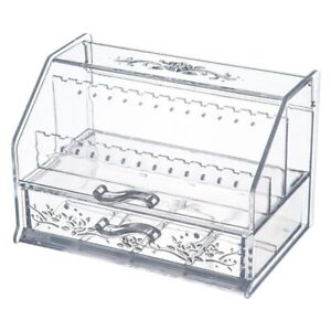 Clear Jewellery Box Drawer Display Earring Storage Cabinet Necklace Organizer UK