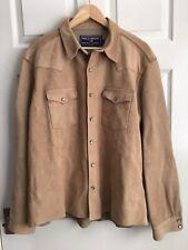 Ralph Lauren Polo Sport Western Style Suede Leather Shirt Size L - UNWORN